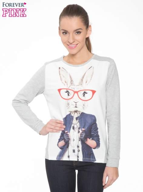 Szara dresowa bluza z nadrukiem królika