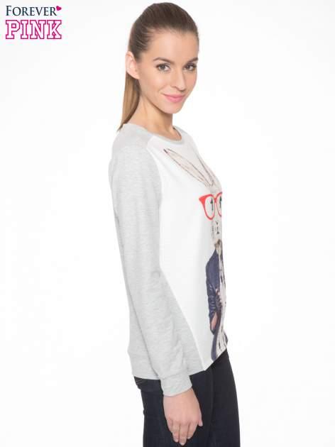 Szara dresowa bluza z nadrukiem królika                                  zdj.                                  3