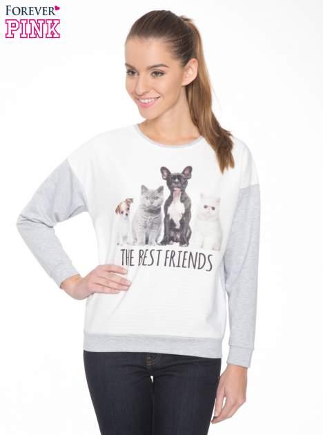 Szara dresowa bluza z nadrukiem zwierzaków