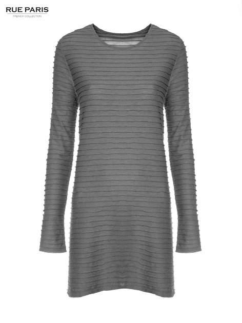 Szara dresowa sukienka w prążkowany wzór                                  zdj.                                  5