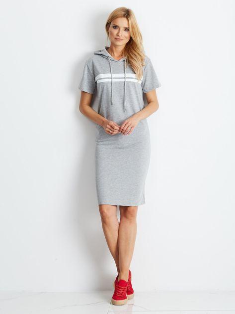 Szara dresowa sukienka z kapturem                              zdj.                              4