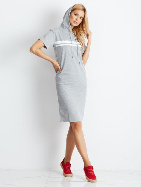 Szara dresowa sukienka z kapturem                              zdj.                              5