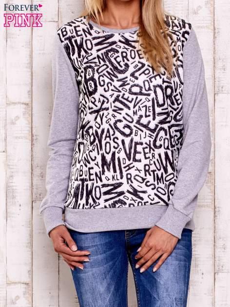 Szara-ecru bluza z nadrukiem liter                                  zdj.                                  1