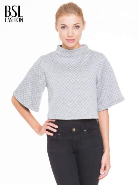 Szara kraciasta bluzka z kloszowanymi rękawami i półgolfem                                  zdj.                                  1