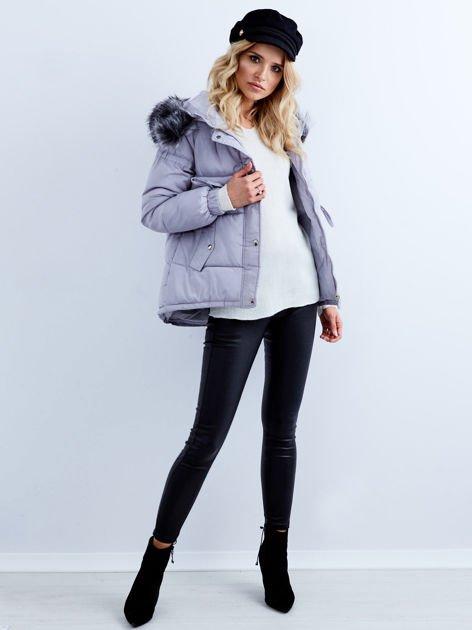 Szara kurtka zimowa pikowana                              zdj.                              2