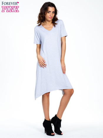 Szara luźna sukienka z asymetrycznym dołem