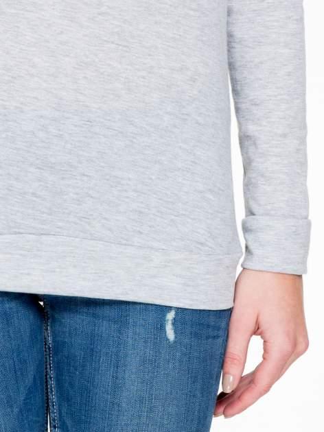 Szara melanżowa bawełniana bluzka z rękawami typu reglan                                  zdj.                                  6
