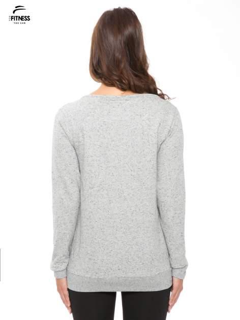 Szara melanżowa bluza dresowa z nietoperzowymi rękawami                                  zdj.                                  4