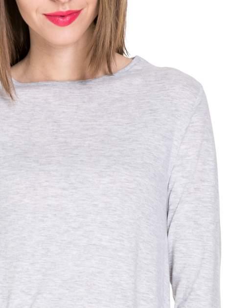 Szara melanżowa bluzka z dłuższym tyłem                                  zdj.                                  5