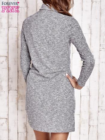 Szara melanżowa sukienka z golfem                                  zdj.                                  4