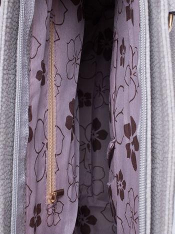 Szara miejska torba z ozdobnymi klamrami                                  zdj.                                  4