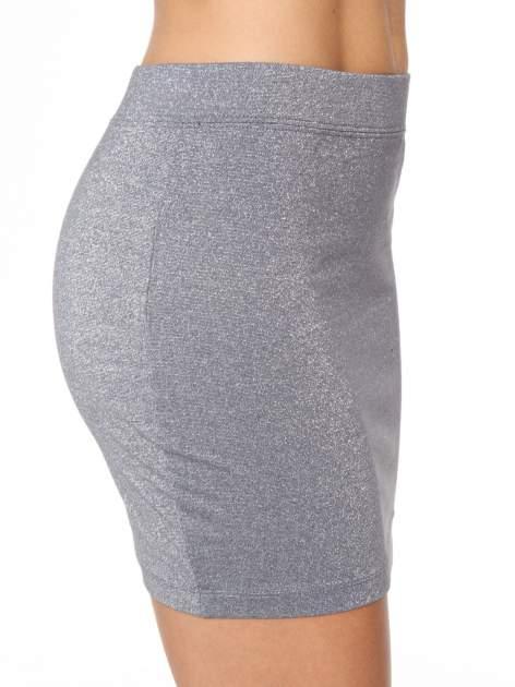 Szara mini spódniczka przeplatana srebrną nicią                                  zdj.                                  8