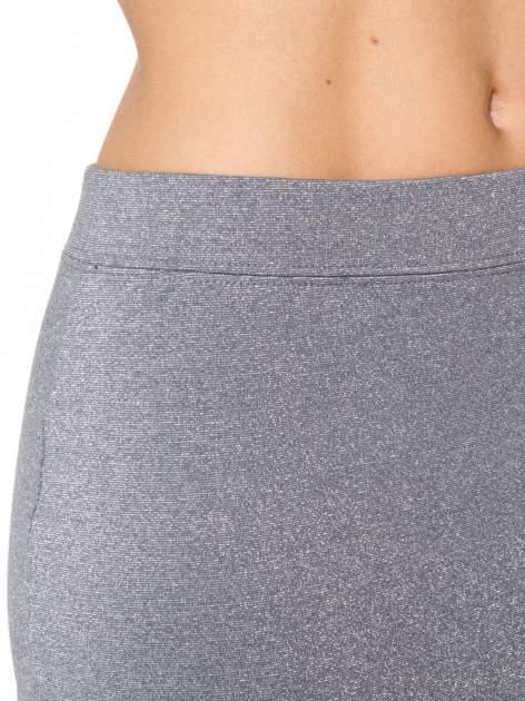 Szara mini spódniczka przeplatana srebrną nicią                                  zdj.                                  9