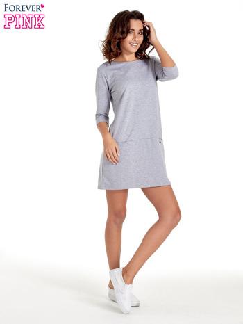 Szara prosta sukienka z kieszeniami                                   zdj.                                  8