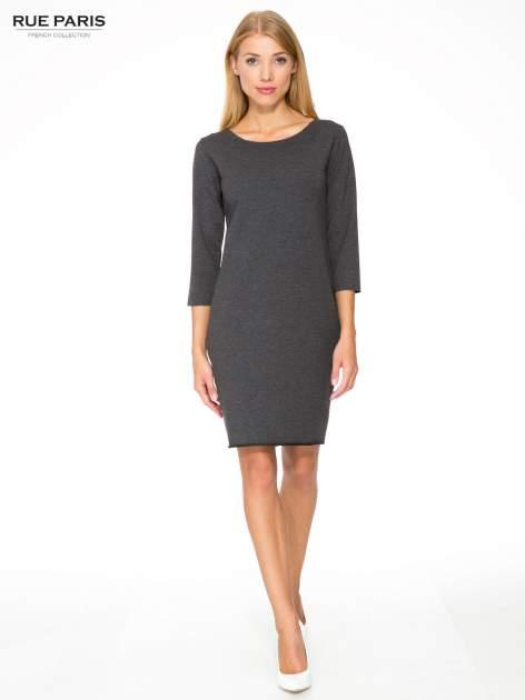 Szara prosta sukienka z surowym wykończeniem i kieszeniami                                  zdj.                                  2