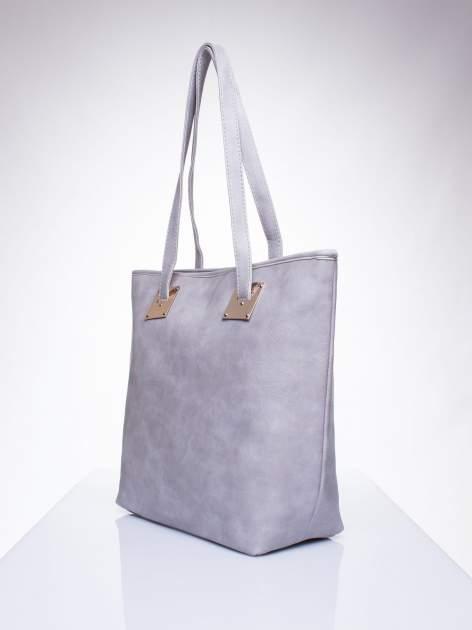 Szara prosta torba shopper bag ze złotymi okuciami                                  zdj.                                  2