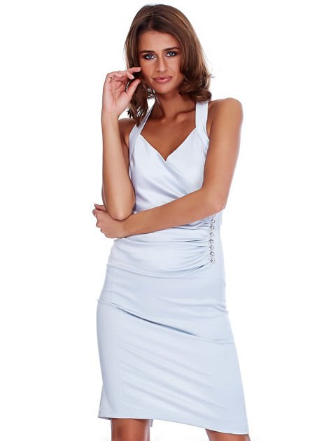 Szara satynowa sukienka z koronkową wstawką z tyłu                              zdj.                              1