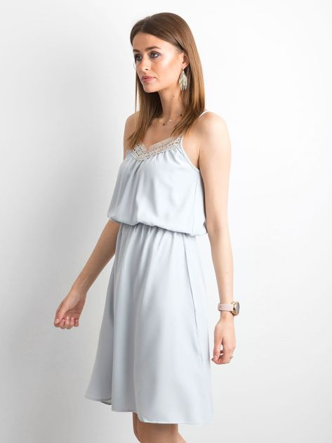 Szara sukienka damska na ramiączkach                              zdj.                              3