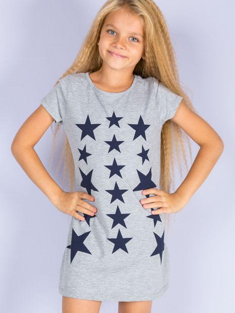 Szara sukienka dla dziewczynki z gwiazdkami                              zdj.                              1