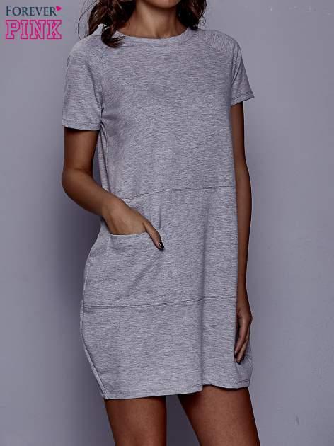 Szara sukienka dresowa z kieszenią z boku                                  zdj.                                  1