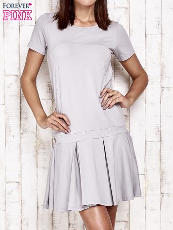 Szara sukienka dresowa z kokardami z tyłu                                  zdj.                                  1