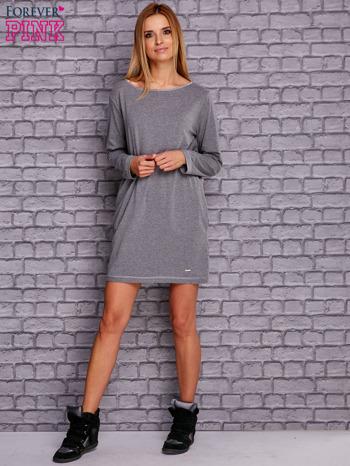 Szara sukienka oversize z kieszeniami                                  zdj.                                  4