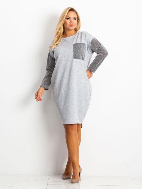 Szara sukienka plus size Desire                              zdj.                              1