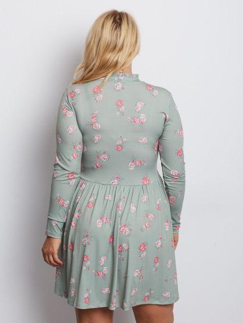 Szaro-zielona sukienka plus size Harrowing                              zdj.                              2