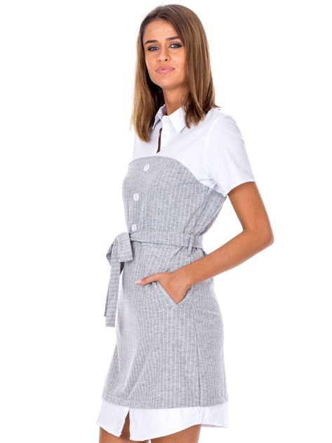 Szara sukienka w paski z kołnierzykiem                              zdj.                              3
