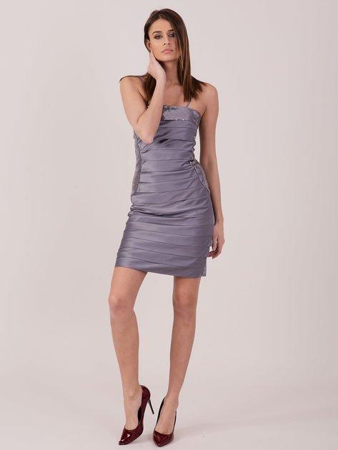 Szara sukienka z cekinowymi modułami                               zdj.                              4