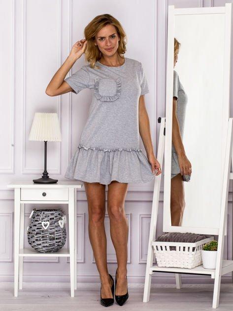 Szara sukienka z falbaną                                  zdj.                                  4