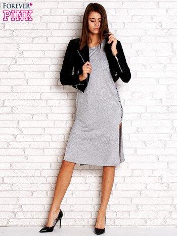Szara sukienka z plecionymi wstawkami z boku                                  zdj.                                  5