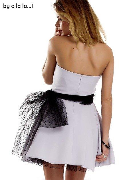 Szara sukienka z tiulowym wiązaniem BY O LA LA                              zdj.                              5