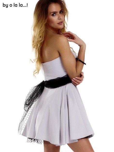 Szara sukienka z tiulowym wiązaniem BY O LA LA                              zdj.                              8