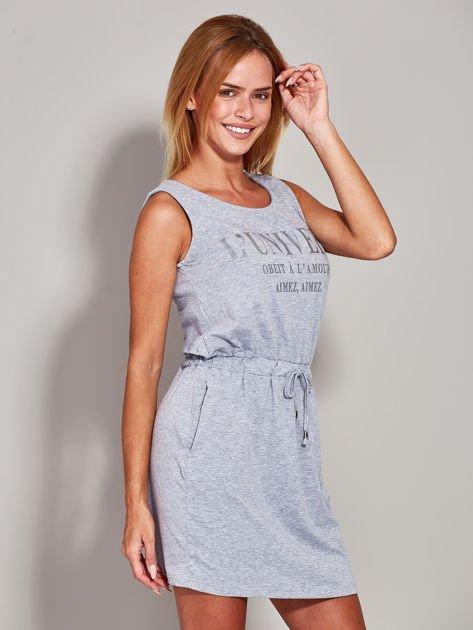 Szara sukienka z troczkami                              zdj.                              5