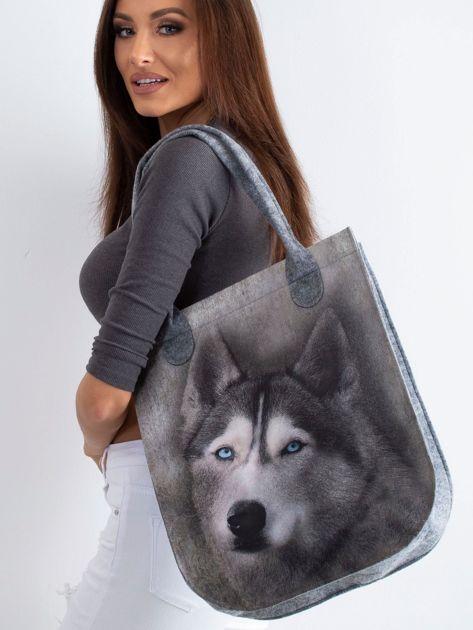 Szara torba filcowa z nadrukiem husky