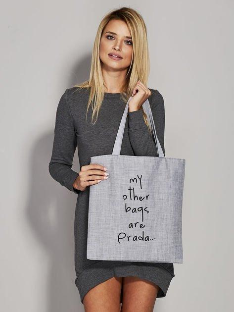 Szara torba materiałowa MY OTHER BAGS ARE PRADA                              zdj.                              1