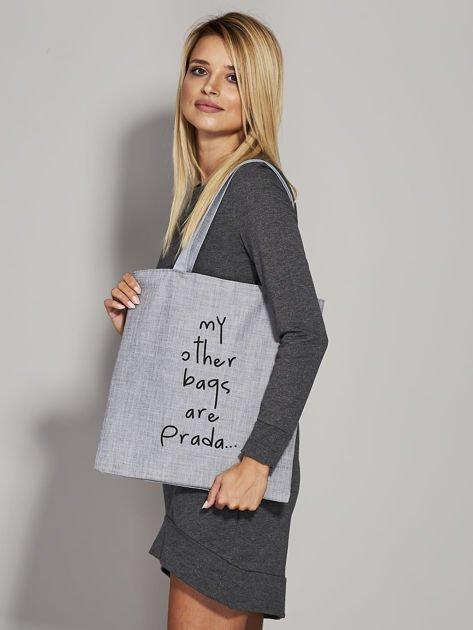 Szara torba materiałowa MY OTHER BAGS ARE PRADA                                  zdj.                                  3