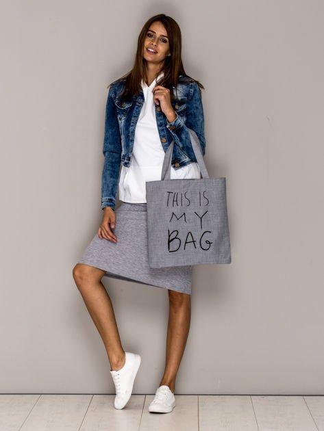 Szara torba materiałowa THIS IS MY BAG                              zdj.                              4