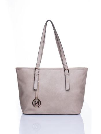 Szara torba shopper bag z regulowanymi rączkami                                  zdj.                                  1