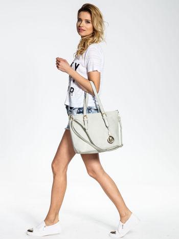 Szara torba shopper bag z regulowanymi rączkami                                  zdj.                                  6