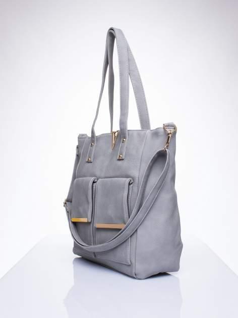 Szara torba shopper bag ze kieszeniami na klapki                                  zdj.                                  2