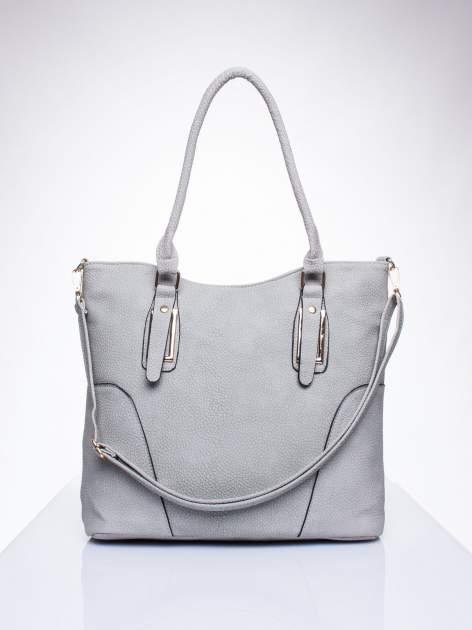Szara torba shopper bag ze złotymi okuciami przy rączkach                                  zdj.                                  1