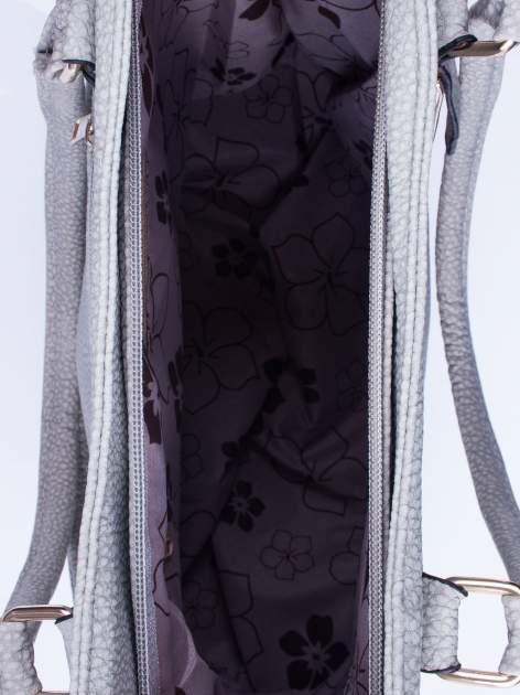 Szara torba shopper bag ze złotymi okuciami przy rączkach                                  zdj.                                  4
