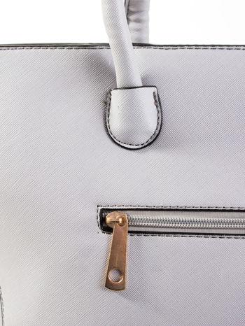 Szara torba shopper efekt saffiano                                  zdj.                                  6