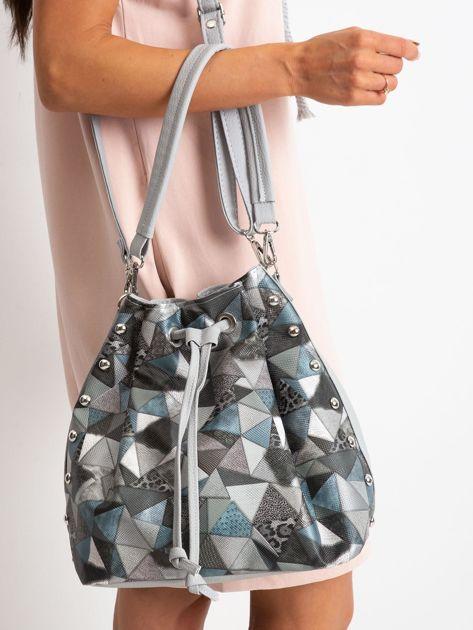 Szara torba z motywem geometrycznym                              zdj.                              1