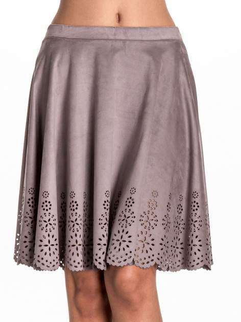 Szara zamszowa spódnica w stylu boho                                  zdj.                                  5
