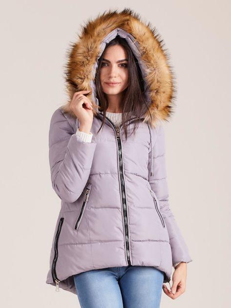 Szara zimowa kurtka z futerkiem                              zdj.                              5