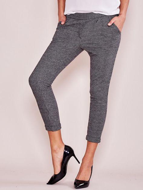 Szare bawełniane spodnie 7/8 z kieszeniami                              zdj.                              1