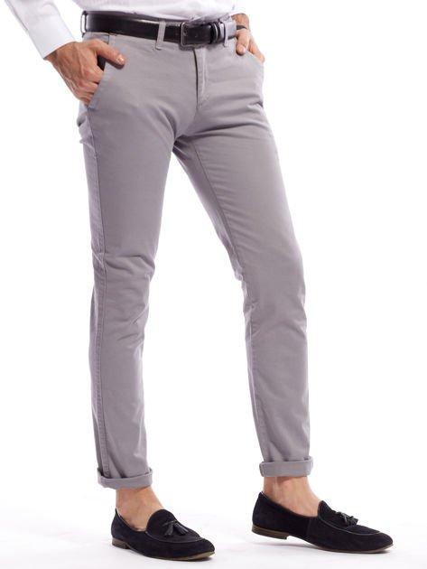 Szare bawełniane spodnie męskie chinosy                               zdj.                              7